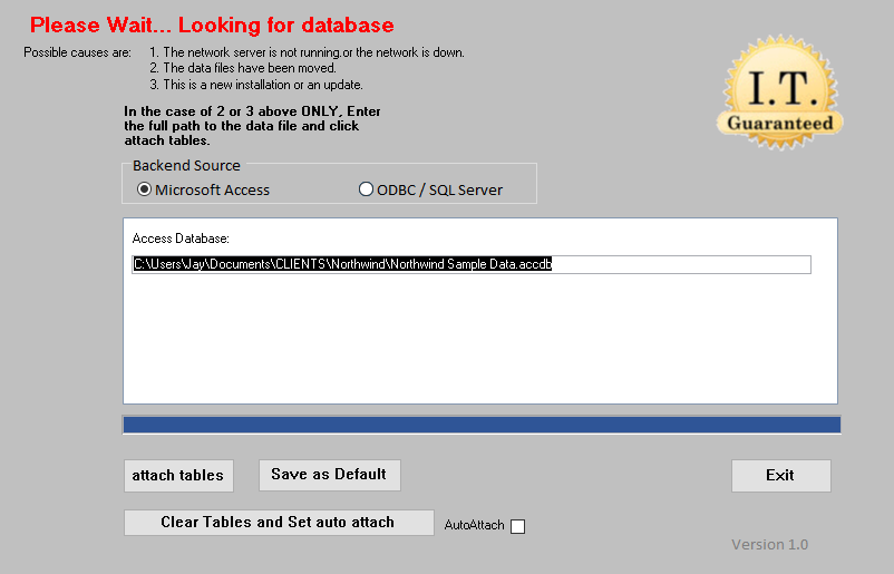 A tool to automatically re-link the dataabse backend to a Microsoft access database.