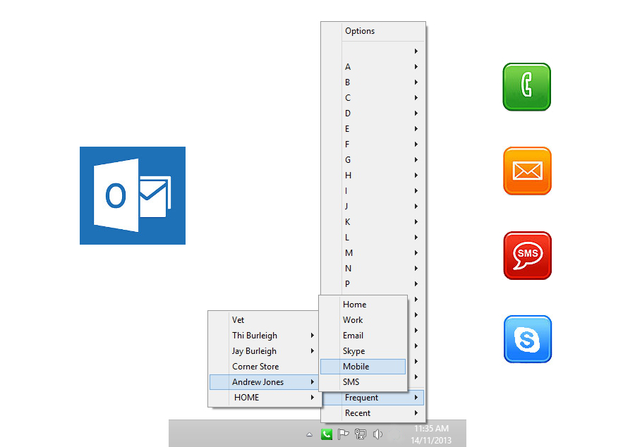Menudex displays a menu of A to Z allowing users to connect with Outlook Contacts with a single click.